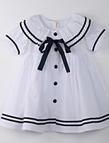 Robe Fille de Points Polka Coton Eté Blanc