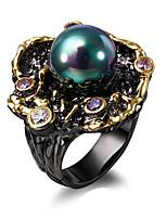 Anneaux Noir Zircon / Cuivre / Plaqué or Mariage / Soirée / Quotidien / Décontracté / N/CBohemia style / Imitation de perle / A la Mode /