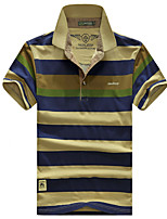 Men's Short Sleeve ,Cotton Casual / Work / Formal / Sport / Plus Sizes Striped