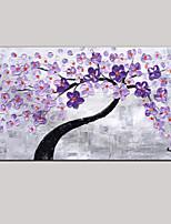 couteau art peinture à l'huile peinte à la main palette mur violet image décor vert fleur de cerisier rose frais étiré cadre