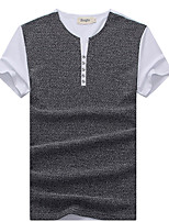 Men's Patchwork Casual T-Shirt,Cotton / Spandex Short Sleeve-Blue / White / Gray