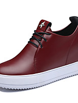 Women's Shoes Leatherette Flat Heel Comfort Fashion Sneakers Office & Career / Dress / Casual Black / Burgundy