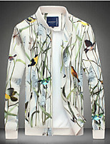 Men's Long Sleeve Casual Jacket,Polyester Print White
