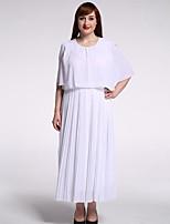 Women's Beach / Plus Size Boho Swing Dress,Solid Round Neck Maxi Short Sleeve White Cotton / Polyester Summer