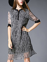 Women's Holiday / Plus Size Street chic Loose Dress,Striped Round Neck Above Knee ½ Length Sleeve Black Silk Summer