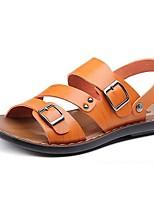 Sapatos Masculinos-Sandálias-Preto-Napa Leather-Ar-Livre / Escritório & Trabalho / Casual / Para Esporte / Trabalho