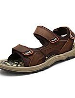 Zapatos de Hombre-Sandalias-Exterior / Oficina y Trabajo / Vestido / Casual / Deporte-Cuero de Napa-Negro / Marrón / Gris Topo