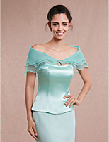 Women's Wrap Capelets Sleeveless Tulle / Rayon Jade / Sky Blue Wedding / Party/Evening Bateau Bow Hidden Clasp
