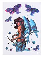 8PCS Blue Yoga Angel Beauty Women Men Body Art Decal Waterproof Temporary Tattoo Sticker White Feather Girl Decoration