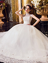A-line Wedding Dress Floor-length High Neck Tulle with Ruffle / Appliques / Beading / Lace