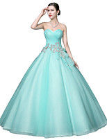 Formal Evening Dress-Sage Ball Gown Strapless Floor-length Organza / Stretch Satin