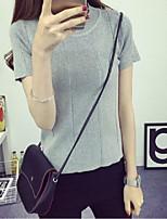 Women's Solid White / Black / Gray Pullover,Street chic Short Sleeve