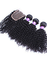 Peruvian Virgin Hair With Closure Kinky Curly Peruvian Curly Hair With Closure 4pcs/lot 6a top quality