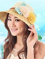 Female Sea Beach Belt Flower Decoration Large brim Straw Hat