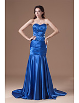Formal Evening Dress Trumpet / Mermaid Sweetheart Court Train Stretch Satin with Beading / Pleats