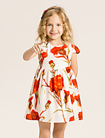 Girl's Casual/Daily Floral Dress,Cotton / Polyester Summer / Spring Beige