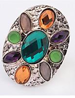 Anéis Mulheres Cristal Liga Liga Ajustável Prata As cores de embelezamento estão disponiveis na imagem.