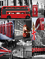 JAMMORY Art Deco Wallpaper Retro Wall Covering,Canvas Large Mural Urban Street Bus