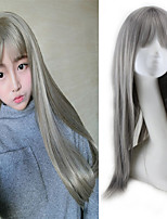 Women Long Straight Synthetic Hair Wig Granny Grey