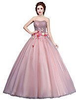Formal Evening Dress Ball Gown Strapless Floor-length Tulle with Flower(s)