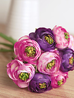 Simple Style Multi-Color 9 Heads Tea Rose Bouquet for Home Decoration