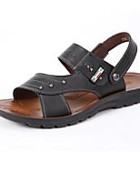 Sapatos Masculinos-Sandálias-Preto / Marrom-Couro-Casual