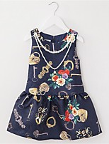 Girl's Blue Dress,Floral Cotton Summer / Spring / Fall