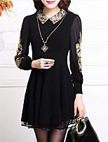 Women's Casual/Daily / Plus Size Simple Sheath Dress,Jacquard Shirt Collar Above Knee Long Sleeve Black Polyester Spring