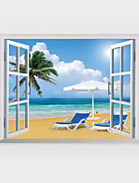 3D Wall Stickers Wall Decals Style Beach Scenery PVC Wall Stickers