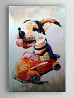 handgemaltes Ölgemälde Tier lebendig Hund im Auto mit gestreckten Rahmen 7 Wand ARTS®