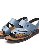Sapatos Masculinos-Sandálias-Azul / Marrom / Amarelo-Courino-Casual