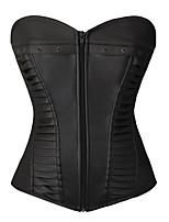 Feminino Plus Size / Sem Busto / Com Busto / Vestido com Corset / Conjunto com Corset Zíper PU / Nylon / Poliéster Feminino