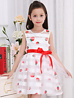 Girl's Cotton Summer  Strawberry  Cartoon Pattern  Printing  Jumper Skirt  Lace Dress