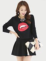 Women's Print Blue / Red / Black Set,Cute / Street chic Long Sleeve