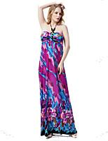 Women's L-6XL Boho Floral Pint Swing Dress,Halter Maxi Polyester