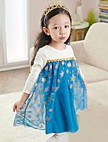 Girl's Blue Dress,Print Polyester Summer