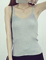 Women's Solid White / Black / Gray Vest,Street chic Sleeveless