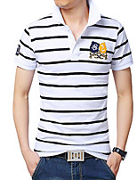 Men's Fashion Slim High Collar Striped Short Sleeved Polo Shirt,Cotton / Polyester Casual / Plus Sizes Striped