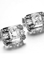 Men's Fashion Sparkle Crystal Silver Alloy French Shirt Cufflinks (1-Pair)