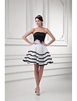 칵테일 파티 드레스 볼 드레스 끈없는 스타일 숏 / 미니 오간자 와 리본 / 플라워 / 허리끈/리본