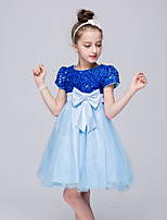 Girl's Blue Dress,Patchwork Polyester Summer