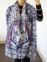 Tiger Totem Feather Printed Cotton Twill Silk Scarf Shawl