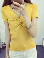 Women's Patchwork Red / White / Black / Gray / Yellow Pullover,Street chic Short Sleeve