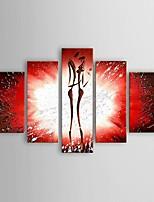 Hånd-malede Abstrakt Moderne / Klassisk / Europæisk Stil,Fem Paneler Hang-Painted Oliemaleri