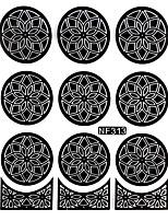 Nail Art Template Sticker-Flower Template(NF313-BLACK)