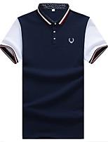 Men's Fashion Slim Badge Cotton Short Sleeved Polos,Cotton / Polyester Casual / Plus Sizes Print