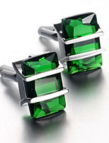 Men's Fashion Green Crystal Silver Alloy French Shirt Cufflinks (1-Pair)