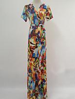 Women's Casual/Daily / Plus Size Boho / Street chic Swing Dress,Print V Neck Maxi Short Sleeve Purple Cotton Summer