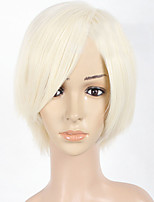 Short Bleach Blonde Mix Straight Women Full Wig