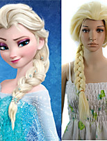 24 inch Women Long Straight Synthetic Hair Wig Cosplay Hair Braid Elsa Beige
